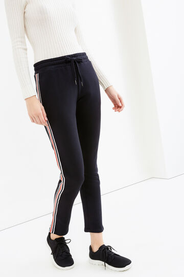 Joggers with contrasting colour side bands, Black, hi-res