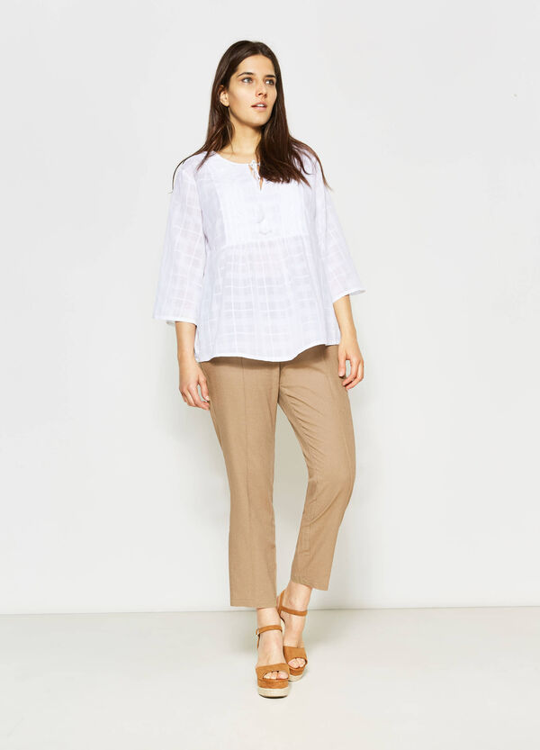 Curvy trousers in linen and cotton | OVS