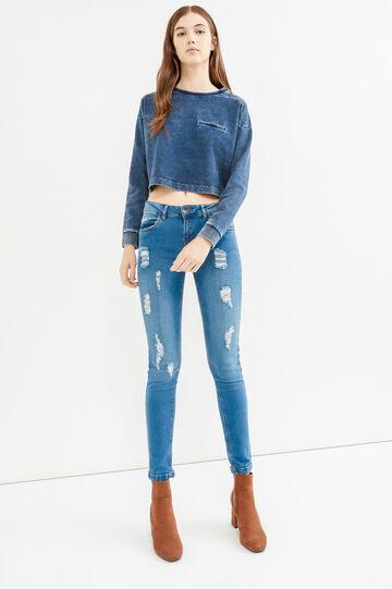 Crop sweatshirt with fading, Dark Blue, hi-res