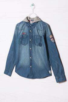 Camicia di jeans con cappuccio, Blu denim, hi-res