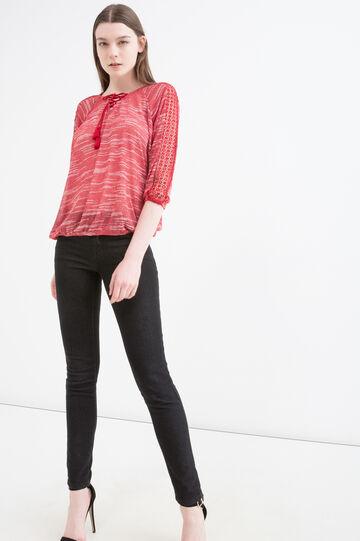 T-shirt con inserto traforato, Rosso, hi-res