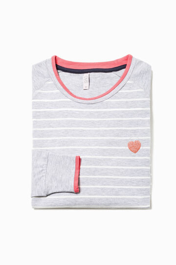 Pyjama top with glitter heart print