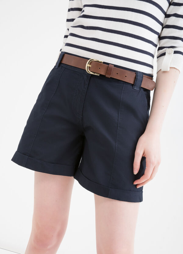 Solid colour stretch cotton shorts. | OVS