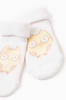 Short socks with animal embroidery, White/Yellow, hi-res