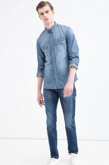 Check print shirt in 100% cotton, Blue, hi-res