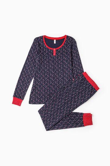 Patterned pyjamas in 100% cotton, Navy Blue, hi-res