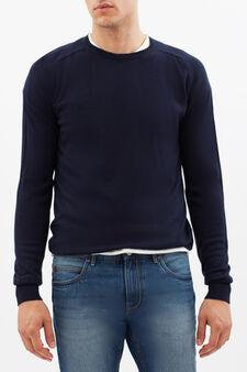 Maglione con scollo rotondo, Blu scuro, hi-res