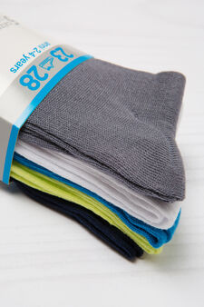 Five-pair pack stretch socks, Grey, hi-res