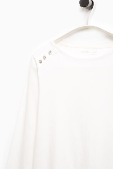 T-shirt cotone con strass Smart Basic, Bianco, hi-res