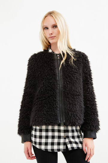 Solid colour faux fur jacket, Black, hi-res