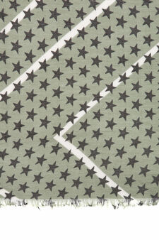 Solid colour scarf with star print., Sage Green, hi-res