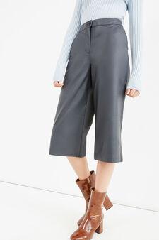 Pantaloni gaucho a vita alta tinta unita, Blu, hi-res