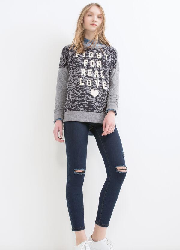 Cotton blend camouflage sweatshirt | OVS