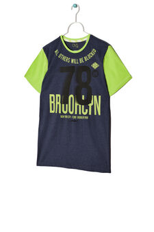 T-shirt con maniche a contrasto, Blu navy, hi-res