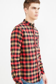 Check cotton shirt with pocket, Green/Red, hi-res