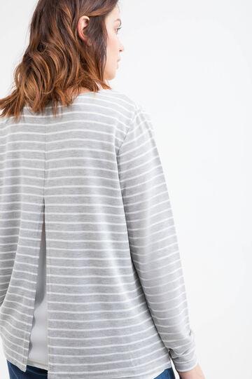 Curvy striped T-shirt in viscose blend., White/Grey, hi-res