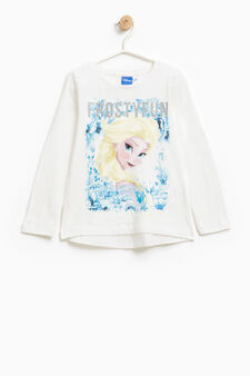 Cotton T-shirt with maxi Frozen print, White, hi-res