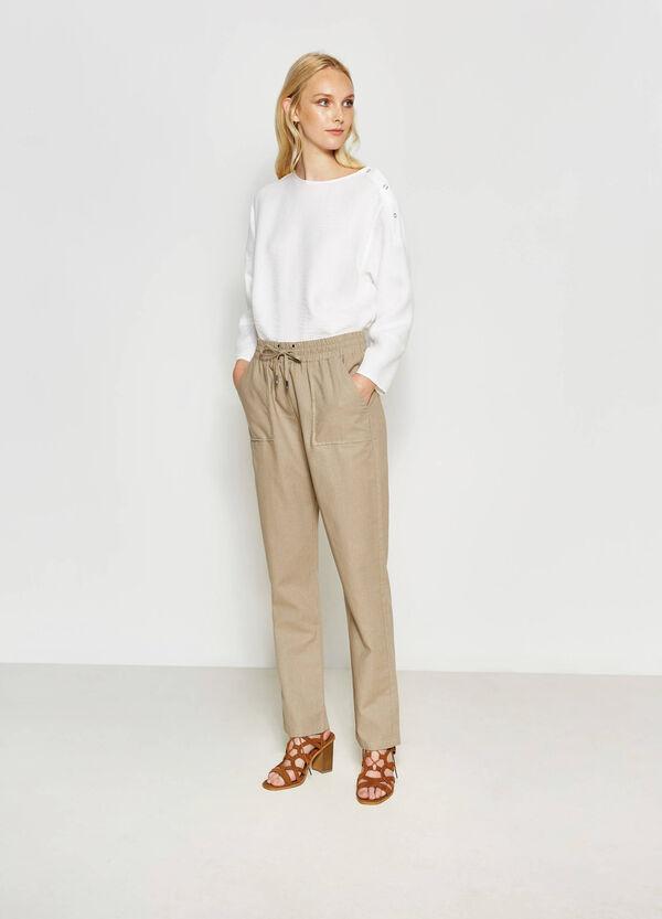 Pantalón en mezcla de lino y algodón | OVS