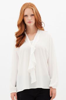 Curvyglam blouse with scarf collar, White, hi-res