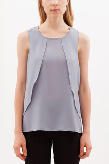 Sleeveless frilled blouse, Light Blue, hi-res