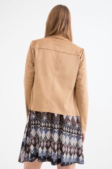 Openwork imitation leather jacket, Light Brown, hi-res