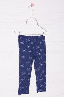Pantaloni stretch con stampa, Blu navy, hi-res