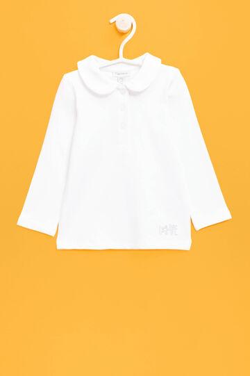 Polo in cotone stretch con ricami, Bianco, hi-res