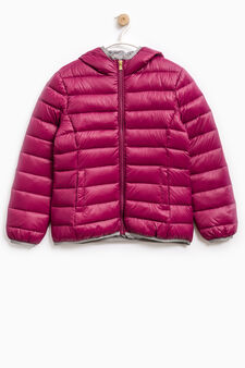 Solid colour down jacket with hood, Plum, hi-res