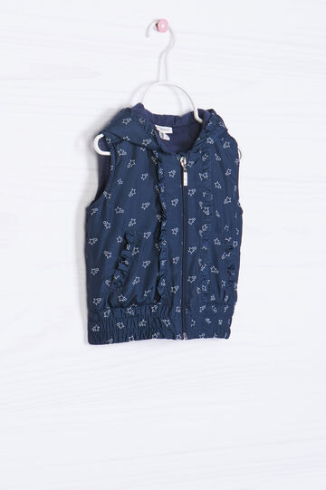Patterned waistcoat with hood, Navy Blue, hi-res