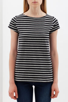 Stretch striped T-shirt, Black/Grey, hi-res
