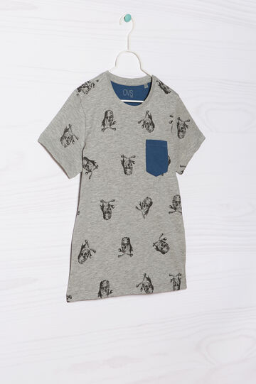 100% cotton T-shirt with pocket, Grey Marl, hi-res