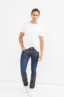 Worn-effect slim-fit jeans with whiskering, Dark Wash, hi-res