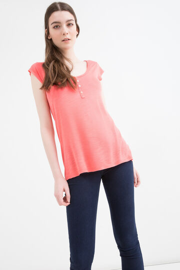 Viscose blend T-shirt with buttons, Orange, hi-res