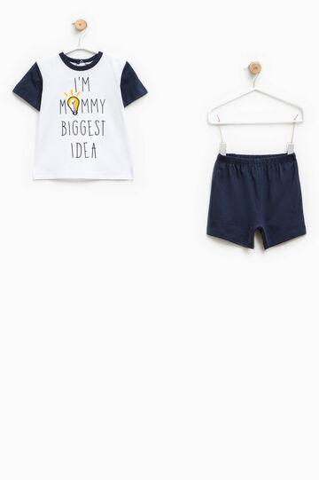 Printed pyjamas with round neck, White/Blue, hi-res