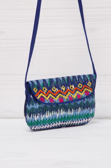 Patterned cotton shoulder bag, Blue, hi-res