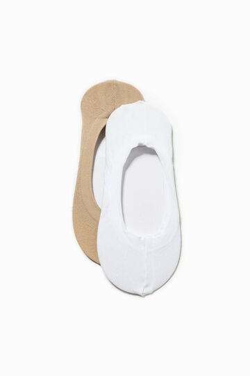 Two-pair pack solid colour shoe liners, White/Beige, hi-res