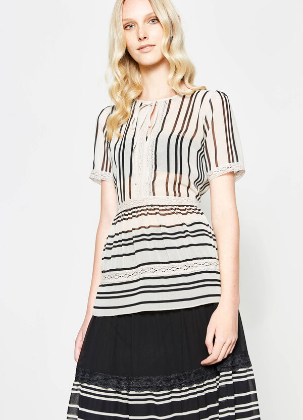 Striped blouse with lace | OVS