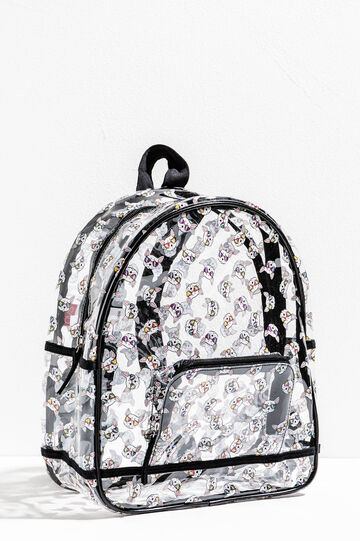 Transparent backpack with dog pattern
