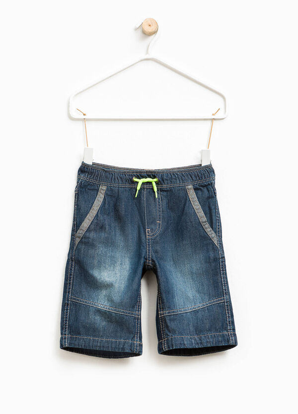 Denim Bermuda shorts with drawstring | OVS