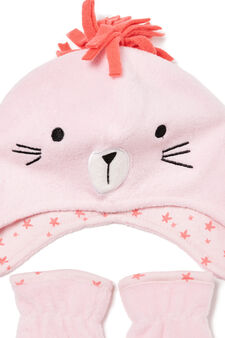 Hat and mittens set, Pink, hi-res