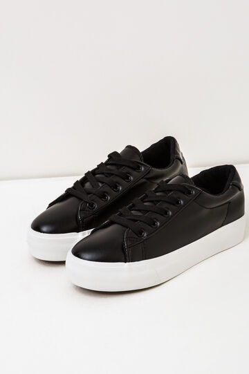 Solid colour sneakers with rubber sole., Black, hi-res