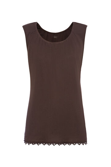 Smart Basic 100% cotton top with round neck, Brown, hi-res
