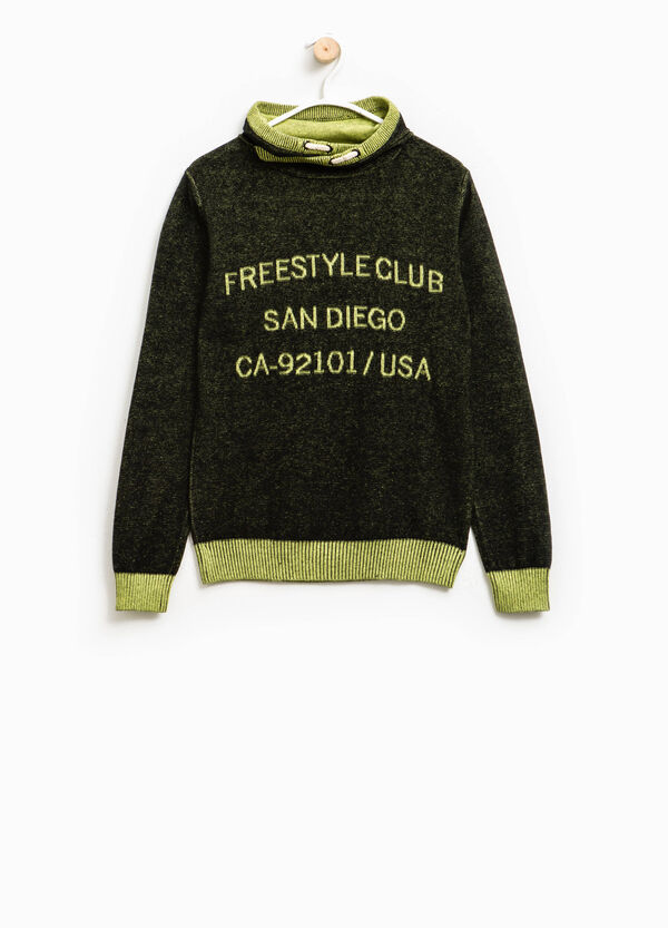 Knit pullover with lettering embroidery | OVS
