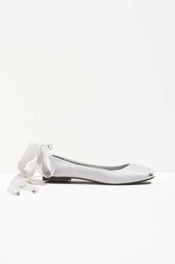 Satin ballerina flats with shiny toe