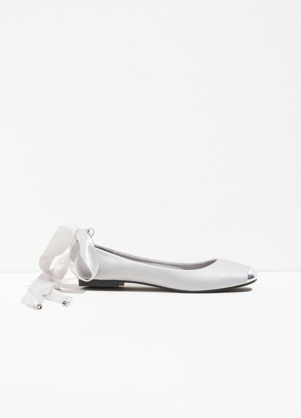 Satin ballerina flats with shiny toe | OVS
