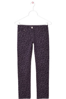 Twill trousers with animal print, Berry, hi-res