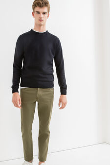 Slim fit, stretch cotton trousers, Dark Green, hi-res