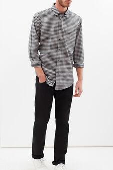 Camicia regular fit a quadri, Blu/Grigio, hi-res