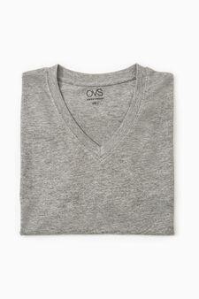 T-shirt intima cotone scollo V, Grigio melange, hi-res