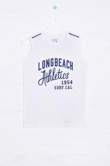 100% cotton printed vest, White/Blue, hi-res